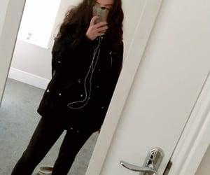 adidas, black jeans, and black coat image