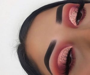 makeup, sparkles, and pink image