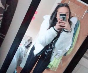 black leggings, white jacket, and topshop leggings image