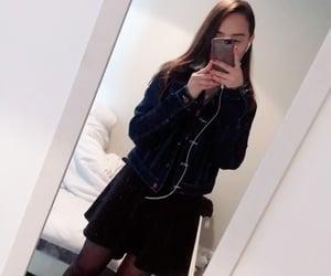 black skirt, straight hair, and mirror selfie image