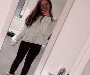 black leggings, white jumper, and vs black leggings image