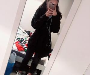 black coat, adidas shoes, and black leggings image