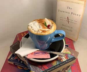 books, mornings, and cafe image