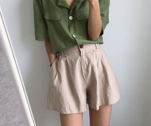 beige, green, and short image