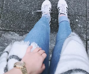jeans, scarf, and adidas shoes image