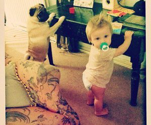 baby, dog, and baby lux image