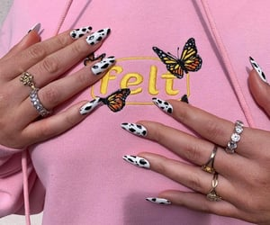 aesthetic, nails, and cow print image