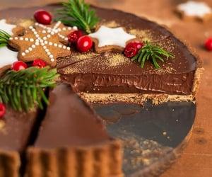 food, chocolate, and chocolate tart image