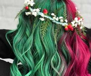 christmas hair and green-claret hair color image