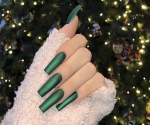 green, nails, and christmas image