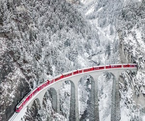 winter and red train image