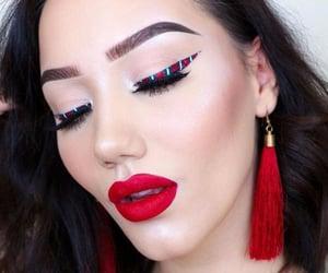 christmas make-up and candy cane eyeliner image