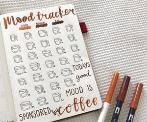 coffee, mood tracker, and bullet journal image