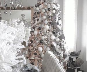 christmas, silver christmas, and white aesthetic image