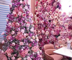 pink, christmas, and flowers image