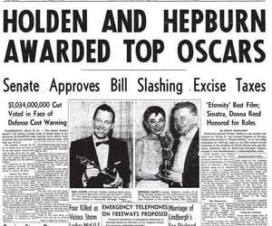 audrey hepburn, newspaper, and oscar image