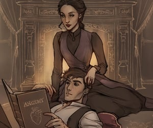 books, couple, and drawing image