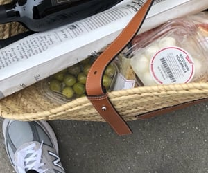 bag, wine, and cheese image