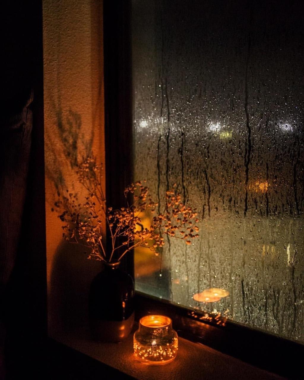 rain, window, and candle image