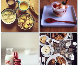 breakfast, foods, and macarons image
