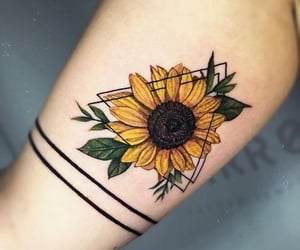 ink, sunflower, and tattoo image