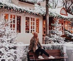 bench, christmas, and snow image