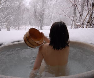 aesthetic, bath, and snow image