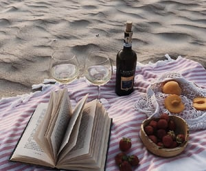 beach, food, and book image