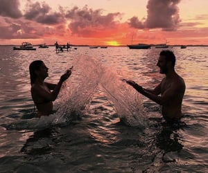 couple, fun, and water image
