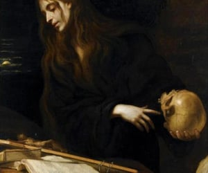 art, skull, and painting image