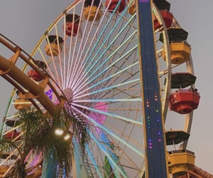 california, ferris wheel, and palm trees image