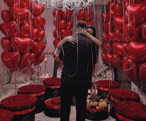 balloons, couple, and fashion image