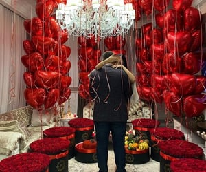 balloons, couple, and fashion image