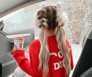 braid, coffee, and girl image