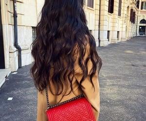 bag, hair style, and handbag image