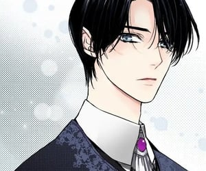 art, black hair, and blue eyes image