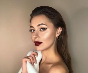 beauty, brunette, and burgundy lips image