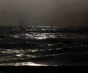 beach, black and white, and dark image