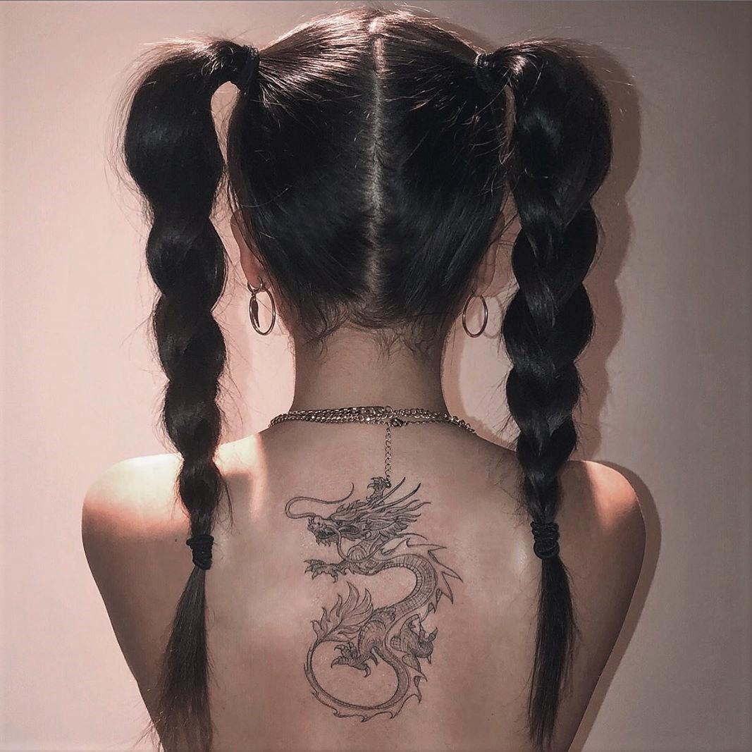 tattoo, girl, and dragon image