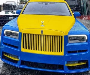 automobiles, blue and yellow, and cars image