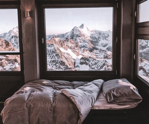 mountains, bed, and photography image