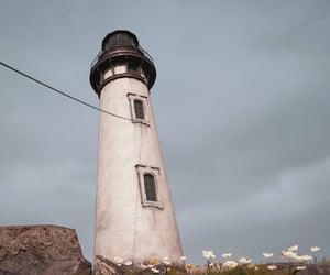 blue sky, lighthouse, and coast image