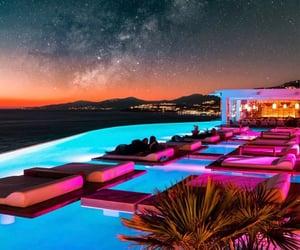pool, sunset, and Greece image