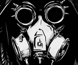 black and white, art, and gas mask image
