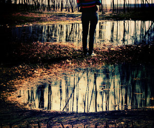 girl, reflection, and trees image
