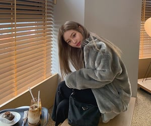 asian girl, korean girl, and coffee image