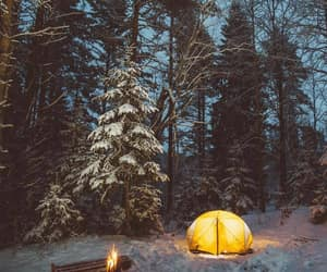fire, outdoors, and snow image
