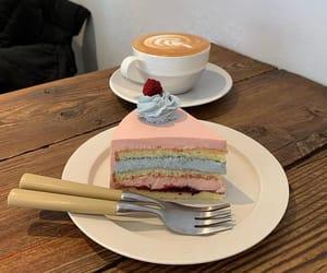 blue, cafe, and cake image