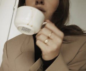 coffee, girl, and rings image