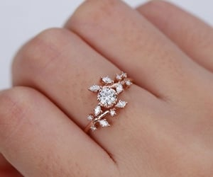 diamond, flower, and engagement ring image